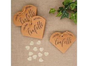 Papírové konfety srdce v ozdobné krabičce