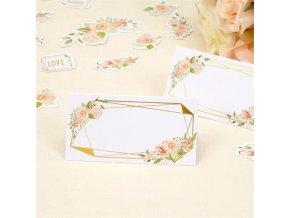 Jmenovky ke svatebnímu stolu zlatý rámeček s růží 25 ks