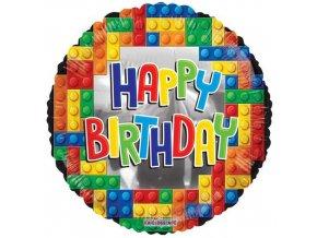 Foliový balonek Stavebnice Happy Birthday 45 cm