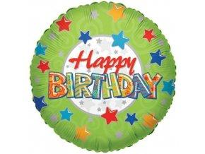 Foliový balonek zelený s hvězdičkami - Happy Birthday 46 cm