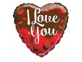 Foliový balonek srdce - čokoládové - I love you 45 cm