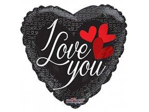 Foliový balonek srdce - černé - I love you 46 cm