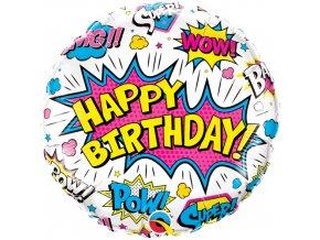 Foliový balonek Comix bílý Happy Birthday 45 cm