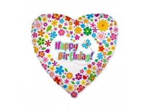 Foliový balonek srdce s kytičkami Happy Birthday 46 cm