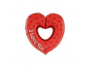Foliový balonek srdce s otvorem - i love you 60 cm