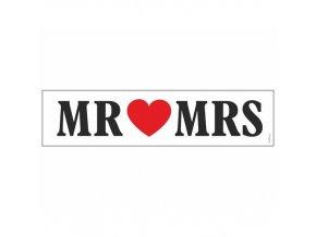 Svatební papírová karta Mr a Mrs 50 x 11 cm