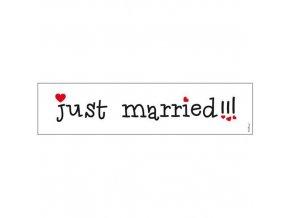 Svatební papírová karta Just Married 50 x 11 cm