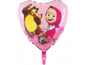 Foliový balonek srdce Máša a Medvěd 45 cm