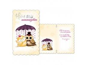 Svatební přání Hodně štěstí novomanželům - Sovičky