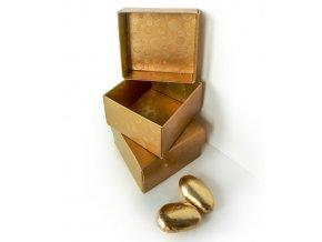 Krabička dárková s víkem 60x60, v.35mm (zlatá s kruhy) 1 ks/krabička