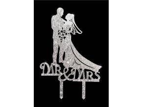 Zapichovací plastová dekorace stříbrná Mr & Mrs