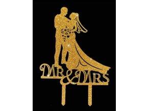 Zapichovací plastová dekorace zlatá Mr & Mrs