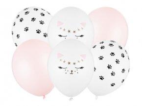 PartyDeco balónky bílé s motivem koček (6 ks)