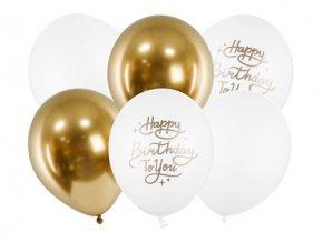Latexové balonky zlato-bílé Happy birthday To You 6 ks