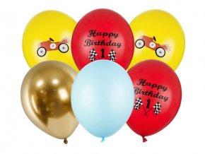 Latexové balonky Happy Birthday - závodní auta 6 ks