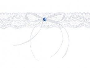 Svatební podvazek bílý s modrým kamínkem