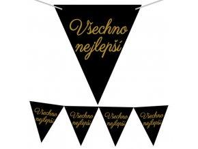 Vlaječková girlanda Všechno nejlepší - Černo-zlatá 225 x 17cm