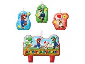 Dortové svíčky Super Mario 4 ks