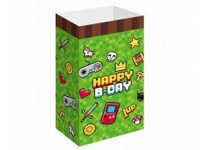 Papírové party tašky na dárečky - Game on - 6 ks
