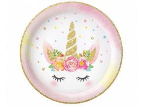 Papírové talíře Jednorožec Floral 23 cm - 6 ks
