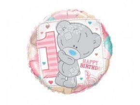 Foliový balonek Medvídek první narozeniny - růžový 45 cm