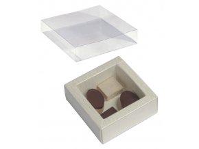 Krabička na pralinky papír+obal plast 60x60, v.32mm (slonová břidlice) 1 ks/krabička