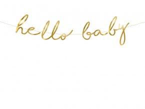 PartyDeco girlanda zlatá Hello baby