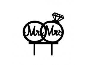Zapichovací plastová dekorace Mr & Mrs s prstýnky