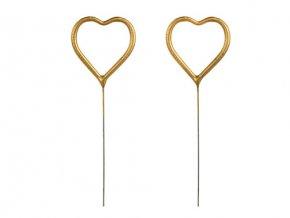 Ozdoba na dort - prskavky zlatá srdce - 2 ks