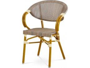 Zahradní židle, cappuccino plastový výplet, kov, zlatohnědý lak AZC-100 CAP Art