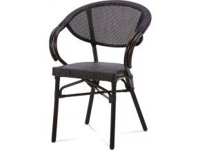 Zahradní židle, kov hnědý, textil černý AZC-110 BK Art