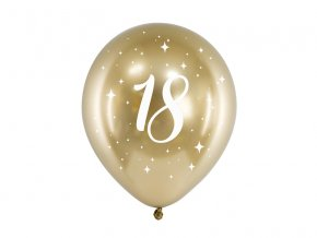 PartyDeco balónky zlaté lesklé 18 (6 ks)