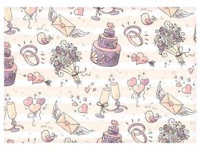 Balící papír svatební - fialové motivy - 100 x 70 cm - 2 ks