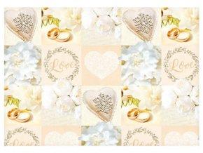 Balící papír svatební - Love prstýnky - 100 x 70 cm - 2 ks