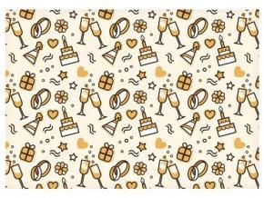 Balící papír svatební - zlaté motivy - 100 x 70 cm - 2 ks