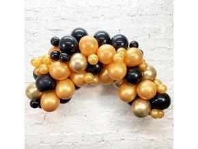 Sada na balonkovou girlandu Černo-zlatá - 3m