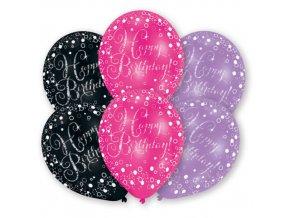 Latexové balonky Happy Birthday - černo-růžové 6 ks
