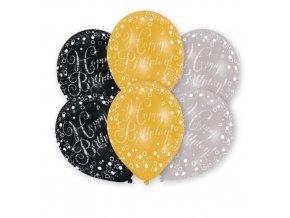 Latexové balonky Happy Birthday - černo-zlaté 6 ks