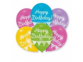 Latexové balonky Happy Birthday - vlaječky 6 ks