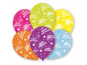 Latexové balonky celoplošný potisk - Happy Birhtday 28 cm - 6 ks