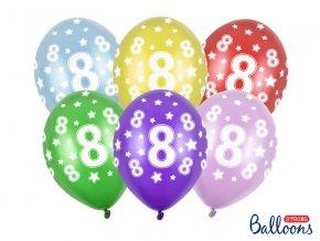 PartyDeco balónky barevné metalické 8. narozeniny (6 ks, náhodné barvy)