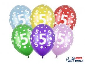 PartyDeco balónky barevné metalické 5. narozeniny (6 ks, náhodné barvy)