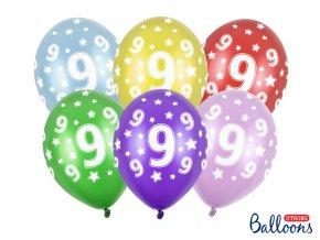 PartyDeco balónky barevné metalické 9. narozeniny (6 ks, náhodné barvy)