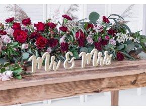 Dekorace dřevěná Mr Mrs - zlatá 50 x 10 cm - 3 ks
