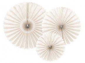 Dekorační rozety krémové 26 až 43 cm - 3 ks