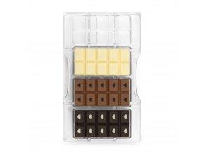 Polykarbonátová forma na čokoládu tabulka čokolády se srdíčky - Decora