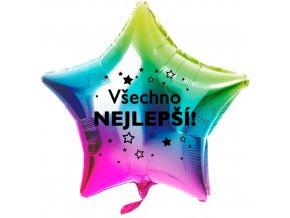 Foliový balonek Všechno nejlepší hvězdy - Duhový - 45 cm