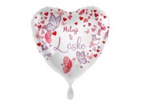 Foliový balonek Miluji tě lásko CZ Srdce motýli 43 cm