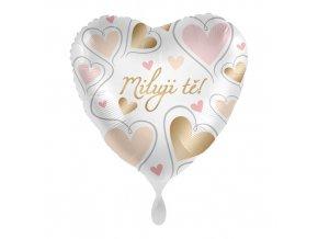 Foliový balonek Miluji tě CZ Srdce zlatá a růžová 43 cm