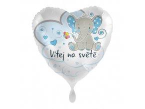 Foliový balonek Vítej na světě Modrý CZ - 43cm